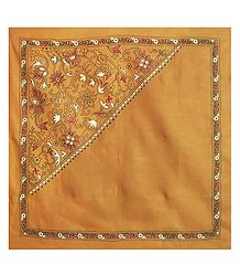 Yellow Head Scarf with Kantha Stitch