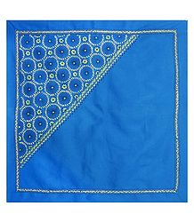 Blue Head Scarf with Kantha Stitch