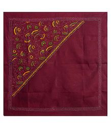 Maroon Head Scarf with Kantha Stitch