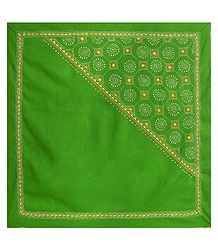 Green Head Scarf with Kantha Stitch