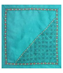 Cyan Green Head Scarf with Kantha Stitch