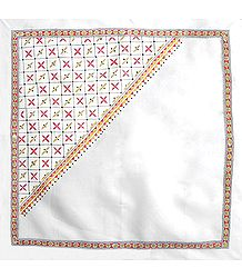 White Head Scarf with Kantha Stitch