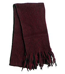 Knitted Woolen Scarf with Maroon and Black Stripe