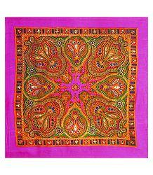 Colorful Paisley Print on Magenta Light Woolen Head Scarf