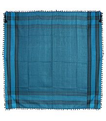 Muslim Woven Black With Cyan Blue Check Cotton Scarf