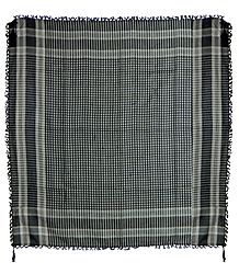 Muslim Woven Black With Off-White Check Cotton Scarf