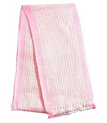 Light Pink and White Hand Knitted Woollen Muffler
