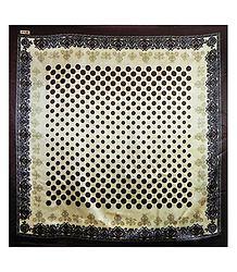 Brown Print on Cream Color Satin Silk Head Scarf