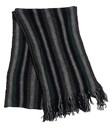 Black and Grey Striped Knitted Woolen Scarf