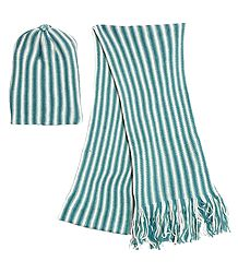 White and Dark Cyan Stripe Woollen Muffler and Cap