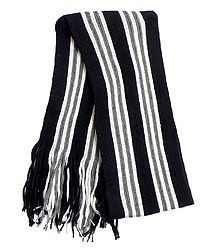 White and Grey Stripe on Black Knitted Woolen Scarf