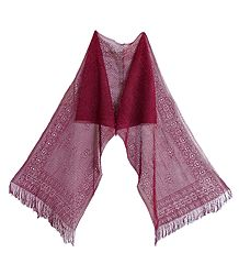 Maroon Silk Thread Scarf