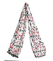 Ship Anchor Print on Off-White Viscose Scarf