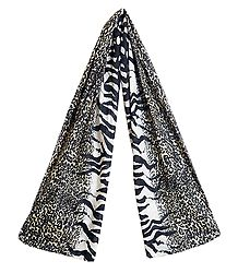 Leopard Skin Print on Off-White Viscose Scarf