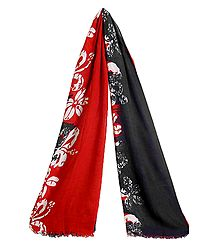 Print on Dark Red and Black Viscose Scarf