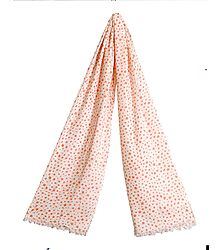 Dark Peach Star Print on White Viscose Scarf