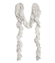 White Crocheted Woolen Scarf