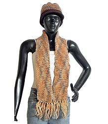 Multicolor Woolen Hand Knitted Cap and Scarf