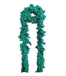 Cyan Green Crocheted Woolen Scarf