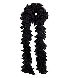 Black Crocheted Woolen Scarf