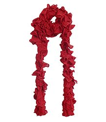 Red Crocheted Woolen Scarf