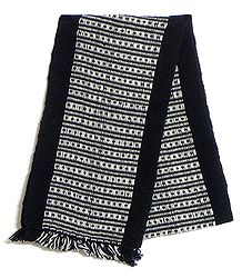 Black and White Hand Knitted Woollen Muffler