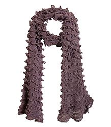 Buy Dark Mauve Crocheted Woolen Scarf