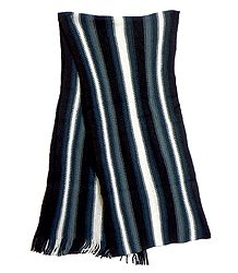 Black, White and Grey Striped Knitted Woolen Scarf
