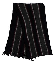 Black, Grey, White and Maroon Striped Knitted Woolen Scarf