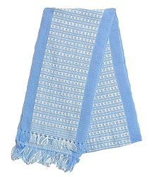 Light Blue and White Hand Knitted Woollen Muffler