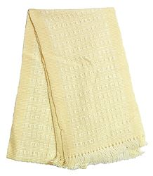 Light Yellow and White Hand Knitted Woollen Muffler