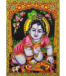 Bal Gopal Krishna - Print with Sequin Work