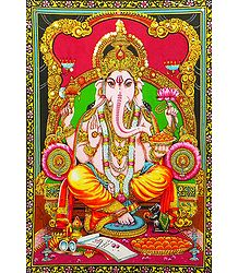 Lord Ganesha Print on Cloth with Sequin Work