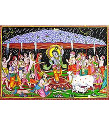 Krishna Lifts Giri Govardhan to Save the Gopis of Vrindavan from Torrential Rain Created by King Indra
