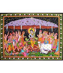 Krishna Lifts Govardhana Mountain to Save Vrindavan from Torrential Rain