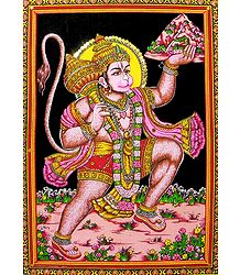 Lord Hanuman Print on Cloth with Sequin Work