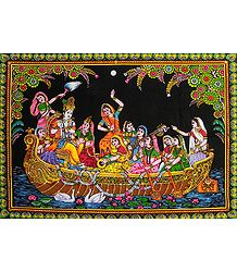 Nauka Vihar - Print on Cloth with Sequin Work