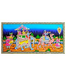 Princely Procession - Sequin Work on Printed Cloth