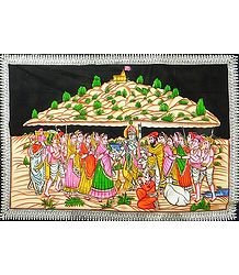 Krishna Lifts Govardhana Mountain - Painting on Cloth with Sequin Work