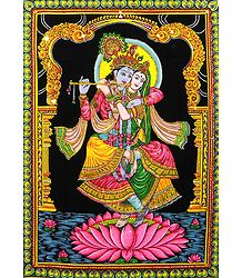 Radha Krishna - Sequin Work on Printed Cloth