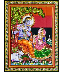 Printed Radha Krishna on Cloth with Sequin Work