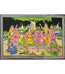 Gopinis Entertaining Radha Krishna by their Music and Dance