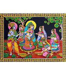 Krishna Playing Holi with Gopinis - Print with Sequin
