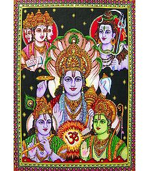 Buy Religious Print on Cloth with Sequin Work