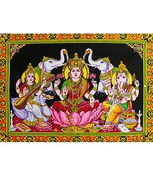 Lakshmi, Saraswati and Ganesha - Print with Sequin