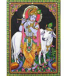 Gopala Krishna Print on Cloth with Sequin Work