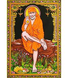 Shirdi Sai Baba Print on Cloth with Sequin Work