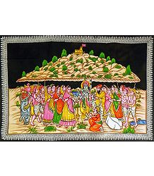 Krishna Lifts Govardhana Mountain - Print with Sequin