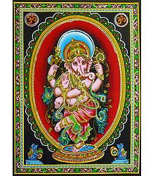 Dancing Ganesha - Print on Cloth with Sequin