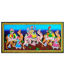 Wedding Procession - Sequin Work on Printed Cloth